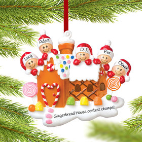 Gingerbread House Family of 5 Ornament