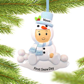 Baby Boy in Snowman Outfit Ornament