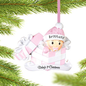 Baby Girl First Present Ornament
