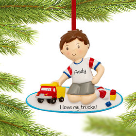 Boy Playing with Toy Truck Ornament