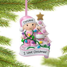 Baby Girl Decorating Tree Ornament