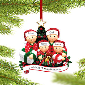 Opening Presents Family of 4 Ornament