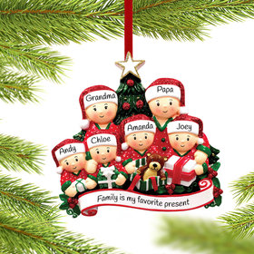Opening Presents Family of 6 Ornament