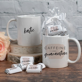 Personalized Caffeine and Quarantine 11oz Mug with approx. 24 Wrapped Hershey's Miniatures
