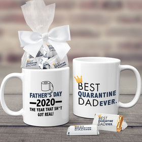 Quarantine Father's Day Gifts Personalized 11oz Coffee Mug with approx. 24 Wrapped Hershey's Miniatures - Best Quarantine Dad Ever