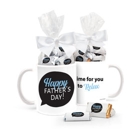 Father's Day Gifts Personalized 11oz Coffee Mug with approx. 24 Wrapped Hershey's Miniatures - Happy Father's Day