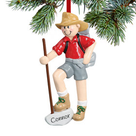 Male Hiker with Walking Stick Ornament