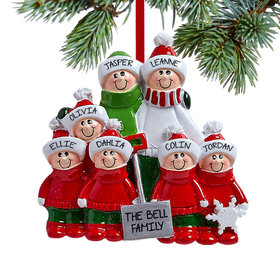 Snow Shovel Family of 7 (Red and Green) Ornament
