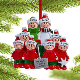 Snow Shovel Family of 8 (Red and Green) Ornament