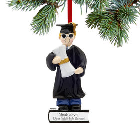 Graduate Boy on a Stack of Books Holding a Diploma Ornament