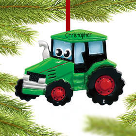 Tractor with Eyes Ornament