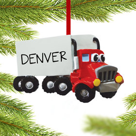 Semi Truck with Eyes Ornament