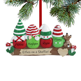 Idle Elves Family of 4 Ornament