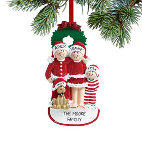 Eve Family of 3 with Dog Ornament
