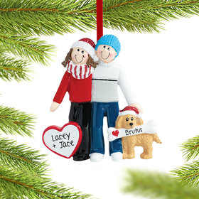 Couple with Dog Ornament