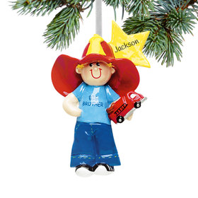 Big Brother with Firetruck and Yellow Star Ornament