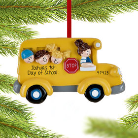 School Bus with Kids Ornament