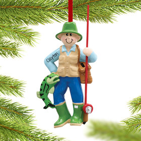 Fisherman with Fishing Pole Ornament