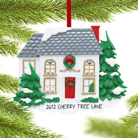 White House with Pine Trees Ornament