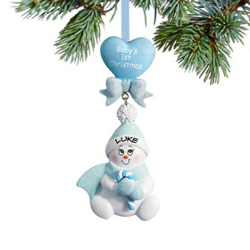 Baby's 1st Blue Snowbaby with Candy Cane Ornament