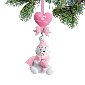 Baby's 1st Pink Snowbaby with Candy Cane Ornament
