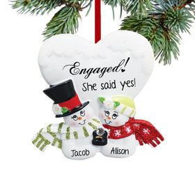 Engaged Snowman Couple Ornament