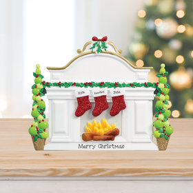 Mantel with 3 Stockings Tabletop Ornament