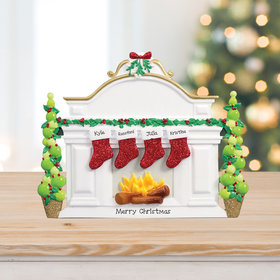 Mantel with 4 Stockings Tabletop Ornament