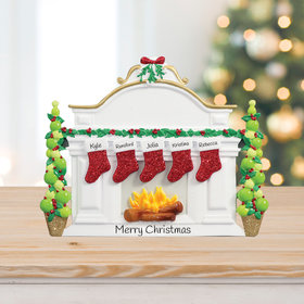 Mantel with 5 Stockings Tabletop Ornament