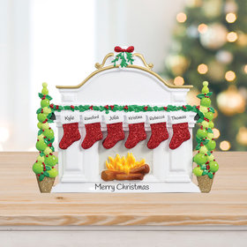 Mantel with 6 Stockings Tabletop Ornament