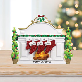 Mantel with 7 Stockings Tabletop Ornament