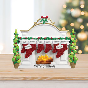 Mantel with 8 Stockings Tabletop Ornament
