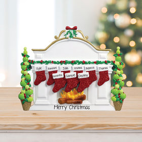 Mantel with 9 Stockings Tabletop Ornament