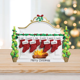 Mantel with 10 Stockings Tabletop Ornament