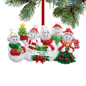 Snowmen with Banner Family of 5 Ornament