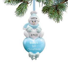 Baby Boy's 1st Blue Snowman Ornament