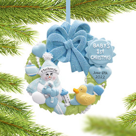 Baby Wreath Boy For Baby's 1st Ornament