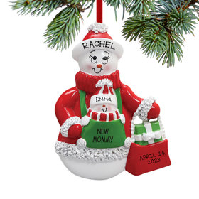 New Mommy Snowman with Baby Snowman Ornament