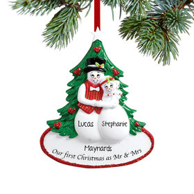 Our First as Mr & Mrs Snow Couple Ornament