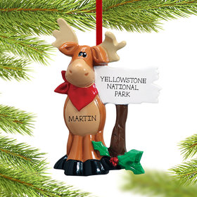 Moose Standing Next To Sign Ornament