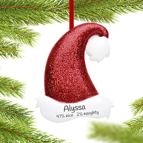 Red Glitter Santa Hat Ornament