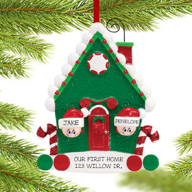 Candy Cane House Couple Ornament