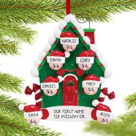 Candy Cane House Family of 7 Ornament