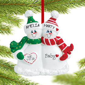 Expecting Snow Couple Ornament