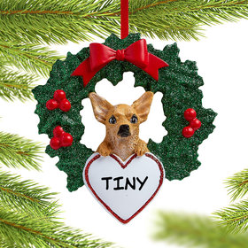 Chihuahua Dog with Wreath Ornament