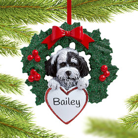 Havanese Dog with Wreath Ornament