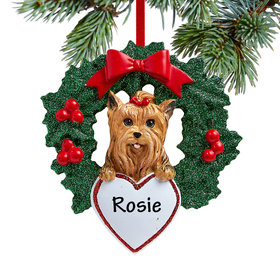 Yorkshire Terrier Dog with Wreath Ornament
