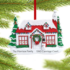 Red Roof House with Snowman Ornament