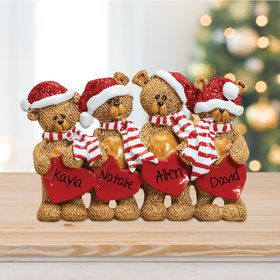 Bears With Hearts Family 4 Table Decoration Ornament