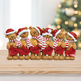 Bears With Hearts Family 6 Table Decoration Ornament